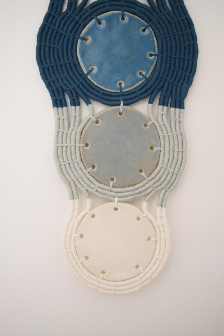 Contemporary One of a Kind Ceramic and Woven Cotton Wall Sculpture in Black/Blue/White For Sale