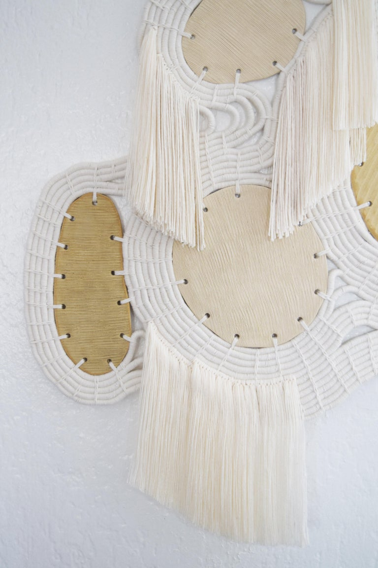 American One of a Kind Ceramic and Woven Cotton Wall Sculpture in White and Natural For Sale