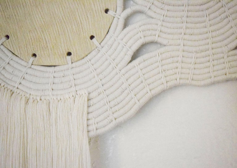 Hand-Crafted One of a Kind Ceramic and Woven Cotton Wall Sculpture in White and Natural For Sale
