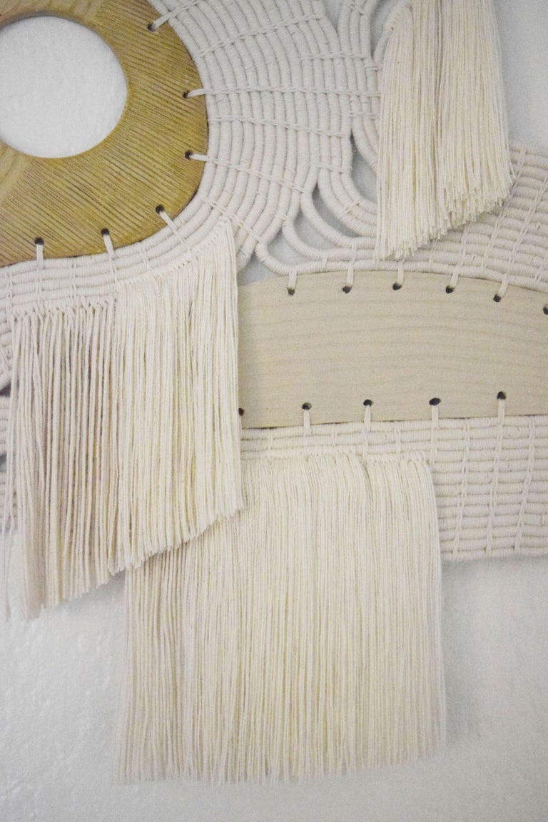One of a Kind Ceramic and Woven Cotton Wall Sculpture in White and Natural In New Condition For Sale In Long Beach, CA