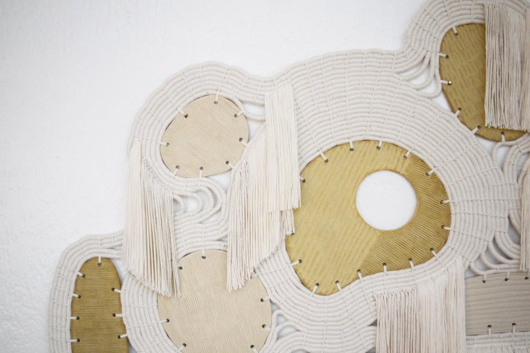 Contemporary One of a Kind Ceramic and Woven Cotton Wall Sculpture in White and Natural For Sale