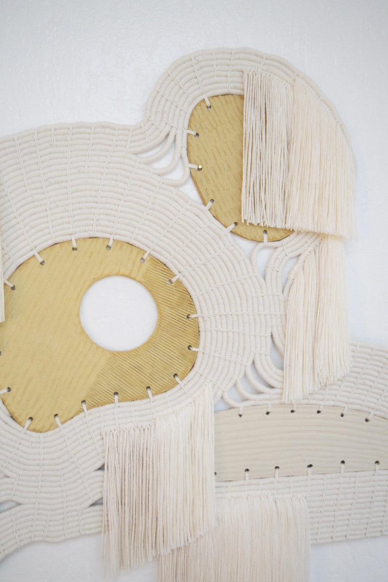 One of a Kind Ceramic and Woven Cotton Wall Sculpture in White and Natural For Sale 1