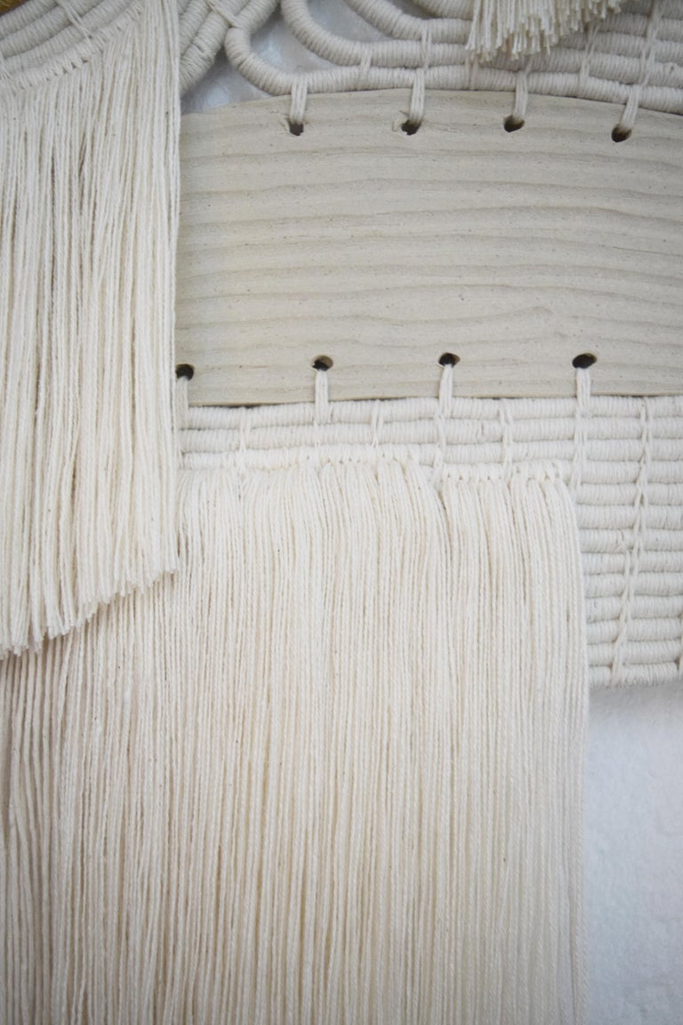 One of a Kind Ceramic and Woven Cotton Wall Sculpture in White and Natural For Sale 2