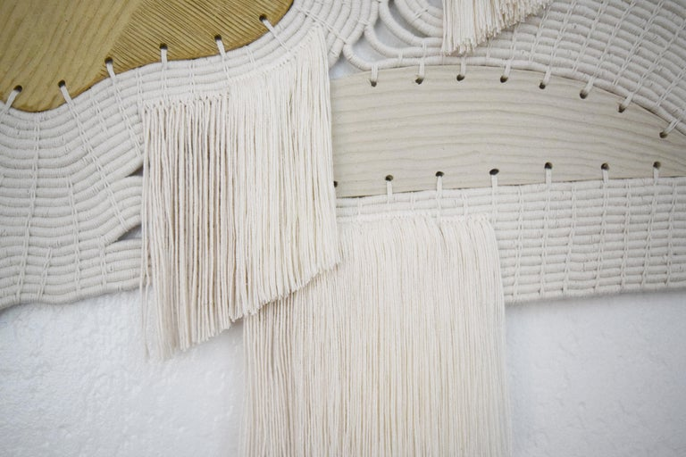 One of a Kind Ceramic and Woven Cotton Wall Sculpture in White and Natural For Sale 3