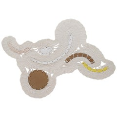 One of a Kind Ceramic and Woven Cotton Wall Sculpture in White and Natural