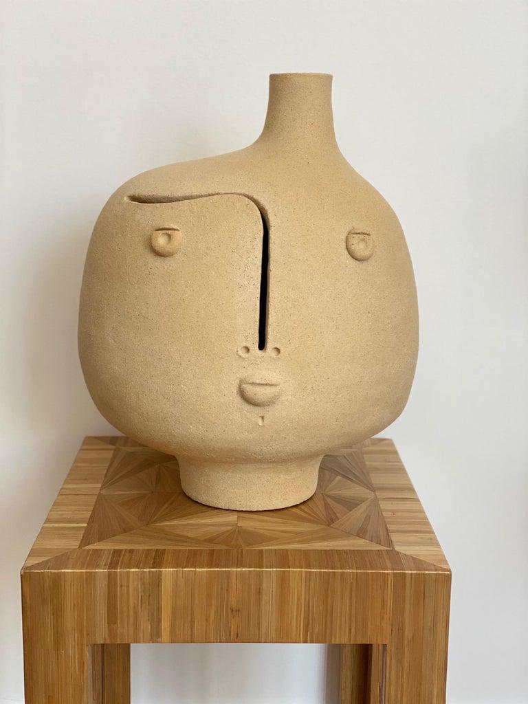 Hand-sculpted ceramic lamp base or sculpture