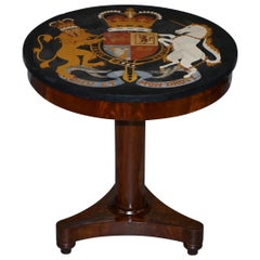 One of a Kind circa 1860 Pietra Dura Specimen Marble Centre Table Armorial Crest