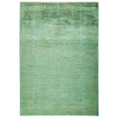 One of a Kind Colorful Wool Hand Knotted Area Rug, Aquamarine