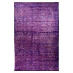 One-of-a-Kind Colorful Wool Hand Knotted Area Rug, Plum