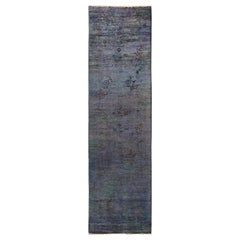 One-of-a-Kind Colorful Wool Hand Knotted Runner Rug, Dove
