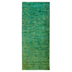 One-of-a-Kind Colorful Wool Hand Knotted Runner Rug, Emerald