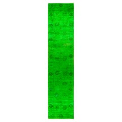 One of a Kind Colorful Wool Hand Knotted Runner Rug, Emerald