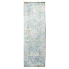 One-of-a-Kind Colorful Wool Hand Knotted Runner Rug, Ice