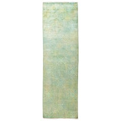 One of a Kind Colorful Wool Hand Knotted Runner Rug, Mint