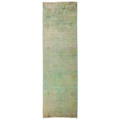 One of a Kind Colorful Wool Hand Knotted Runner Rug, Moss