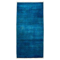 One of a Kind Colorful Wool Hand Knotted Runner Rug, Sapphire