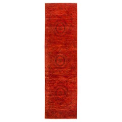 One-of-a-Kind Colorful Wool Hand Knotted Runner Rug, Scarlet