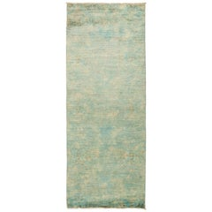 One of a Kind Colorful Wool Hand Knotted Runner Rug, Seafoam