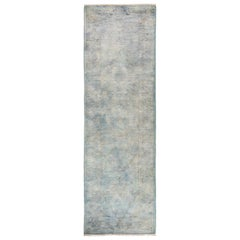 One-of-a-Kind Colorful Wool Hand Knotted Runner Rug, Silver