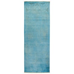 One-of-a-Kind Colorful Wool Hand Knotted Runner Rug, Teal