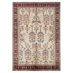 One of a Kind Contemporary Handwoven Wool Area Rug 5'7 x 7'10