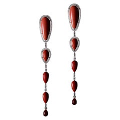 One-of-a-kind Coral and Diamond Long Drop Earrings