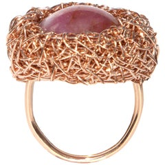 One-of-a-kind Cranberry Red Cabochon Rose Gold Cocktail Ring by Sheila Westera