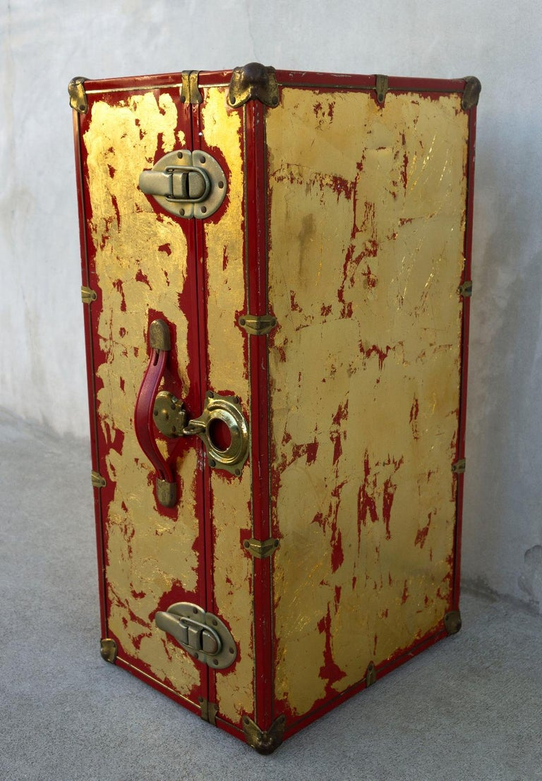 American One of a Kind Custom 24-Karat Gilded Vintage Red Time Capsule Steamer Trunk For Sale
