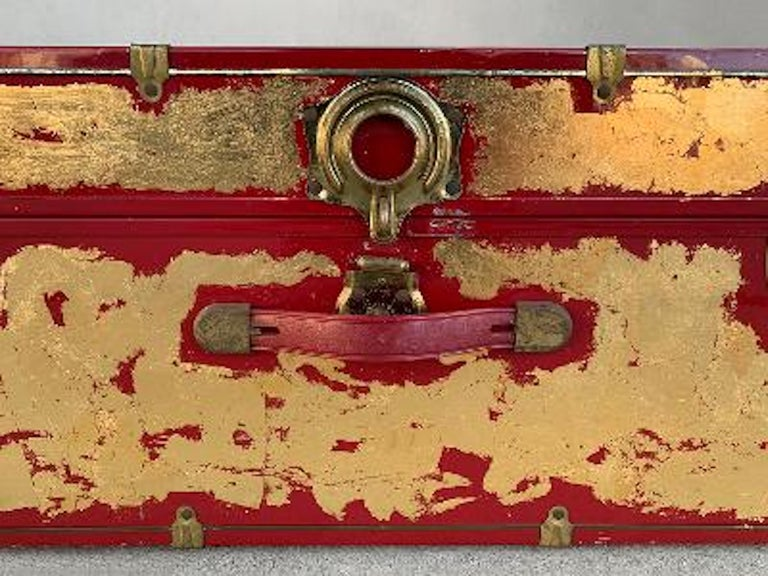 One of a Kind Custom 24-Karat Gilded Vintage Red Time Capsule Steamer Trunk In Good Condition For Sale In Tustin, CA