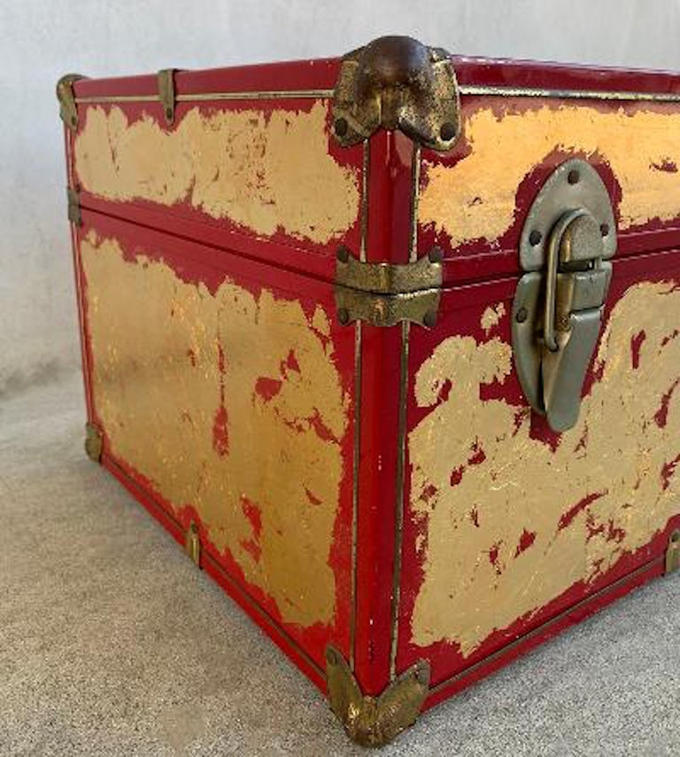 20th Century One of a Kind Custom 24-Karat Gilded Vintage Red Time Capsule Steamer Trunk For Sale
