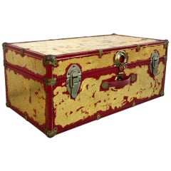 One of a Kind Custom 24-Karat Gilded Vintage Red Time Capsule Steamer Trunk