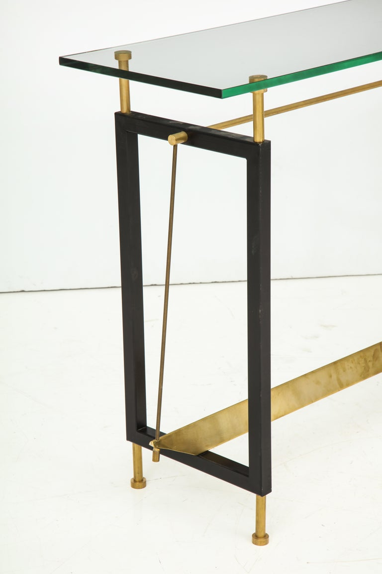 One of a Kind Custom-Made Linear Brass and Iron Console, Italy For Sale 4