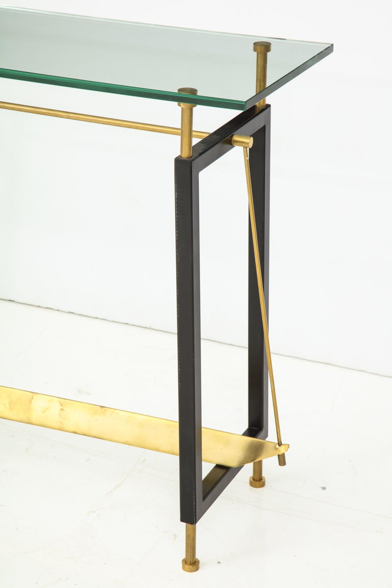 Italian One of a Kind Custom-Made Linear Brass and Iron Console, Italy For Sale