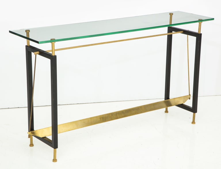 Contemporary One of a Kind Custom-Made Linear Brass and Iron Console, Italy For Sale