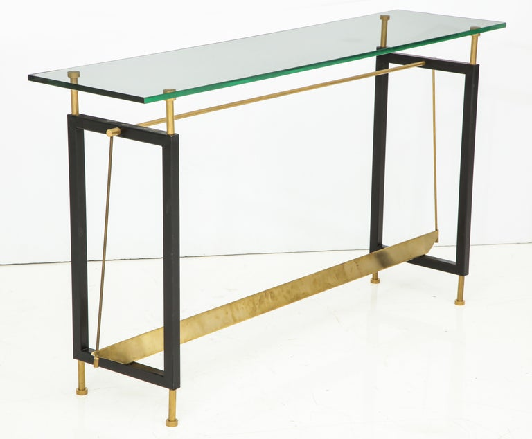 One of a Kind Custom-Made Linear Brass and Iron Console, Italy For Sale 3