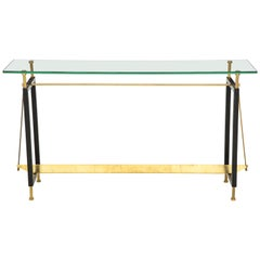 One of a Kind Custom-Made Linear Brass and Iron Console, Italy