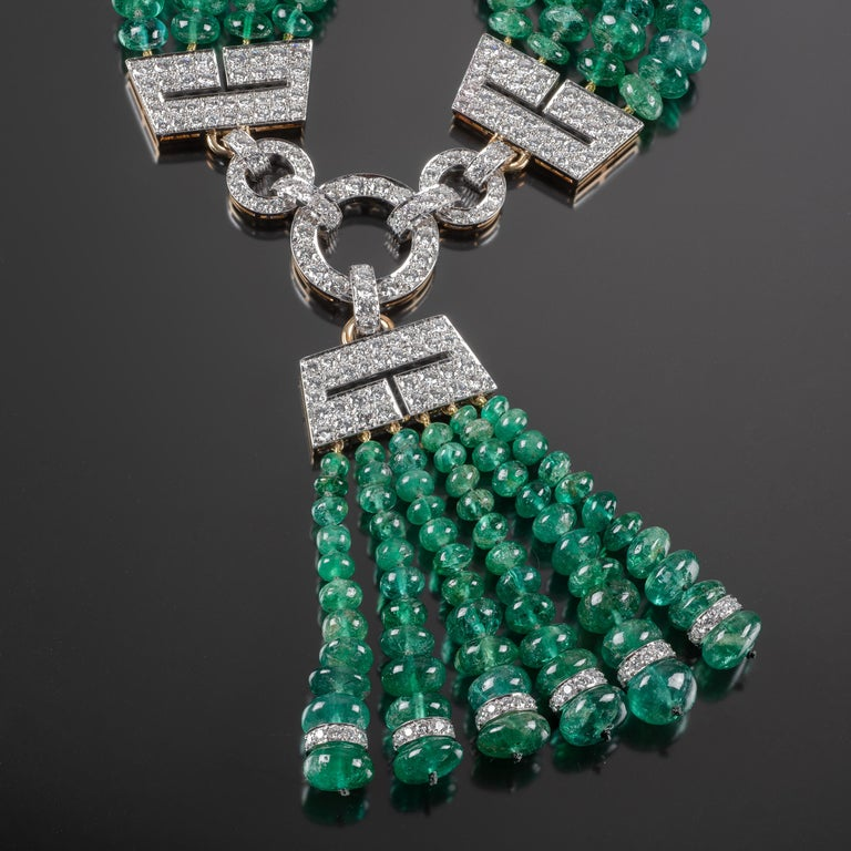 Round Cut One of a Kind David Webb Emerald and Diamond Necklace For Sale