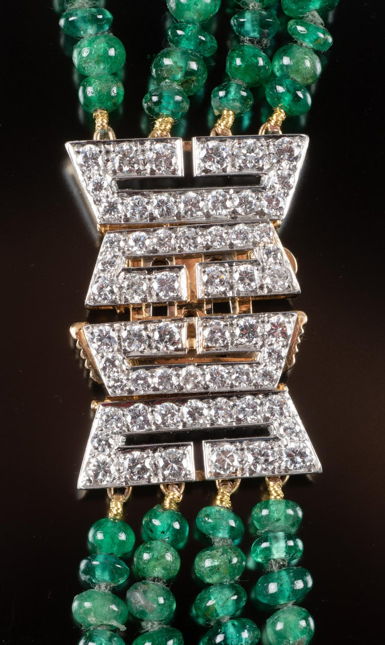 One of a Kind David Webb Emerald and Diamond Necklace In Good Condition For Sale In 02114, MA