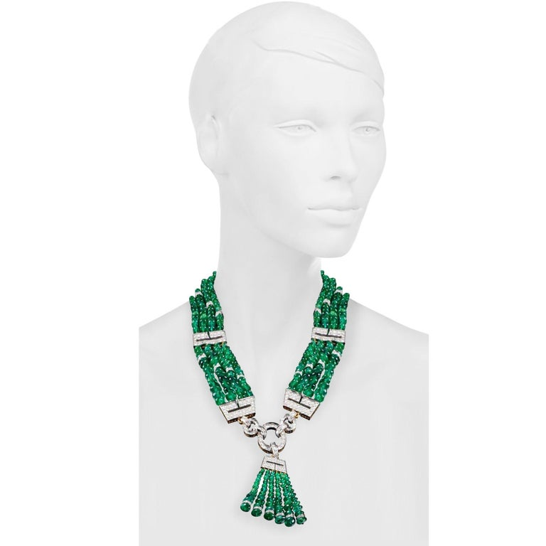 Women's or Men's One of a Kind David Webb Emerald and Diamond Necklace For Sale