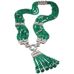 One of a Kind David Webb Emerald and Diamond Necklace