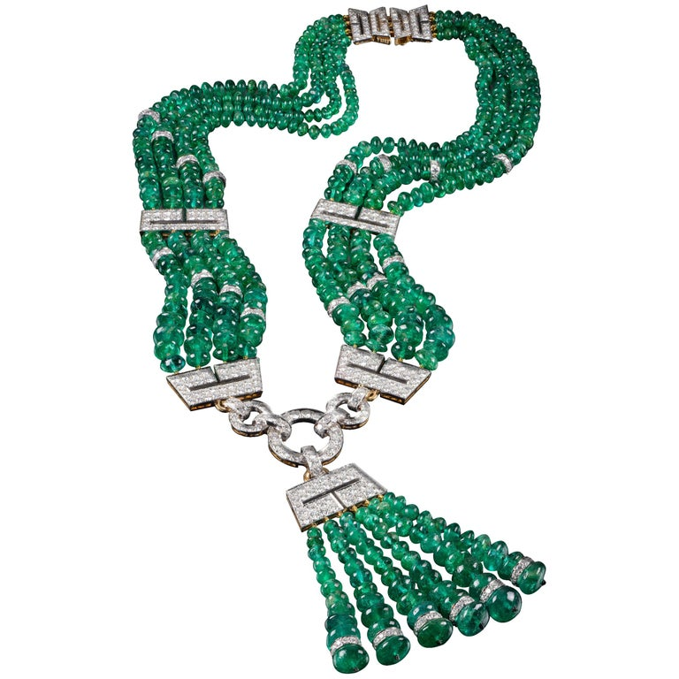 One of a Kind David Webb Emerald and Diamond Necklace For Sale