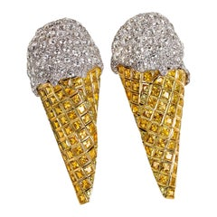 """One of a Kind Diamond and Sapphire White and Yellow Gold """"Ice Cream"""" Earrings"""
