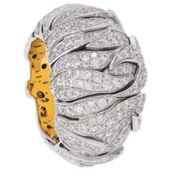 """One of a Kind Diamond """"Dome"""" Ring in White and Yellow Gold"""