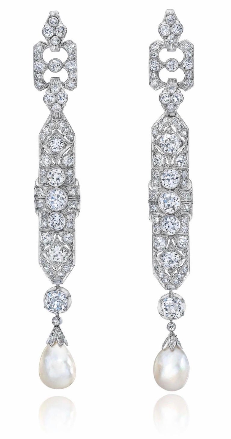 One-of-a-Kind Diamond Natural Pearl Platinum Long Dangling Chandelier Earrings For Sale 4