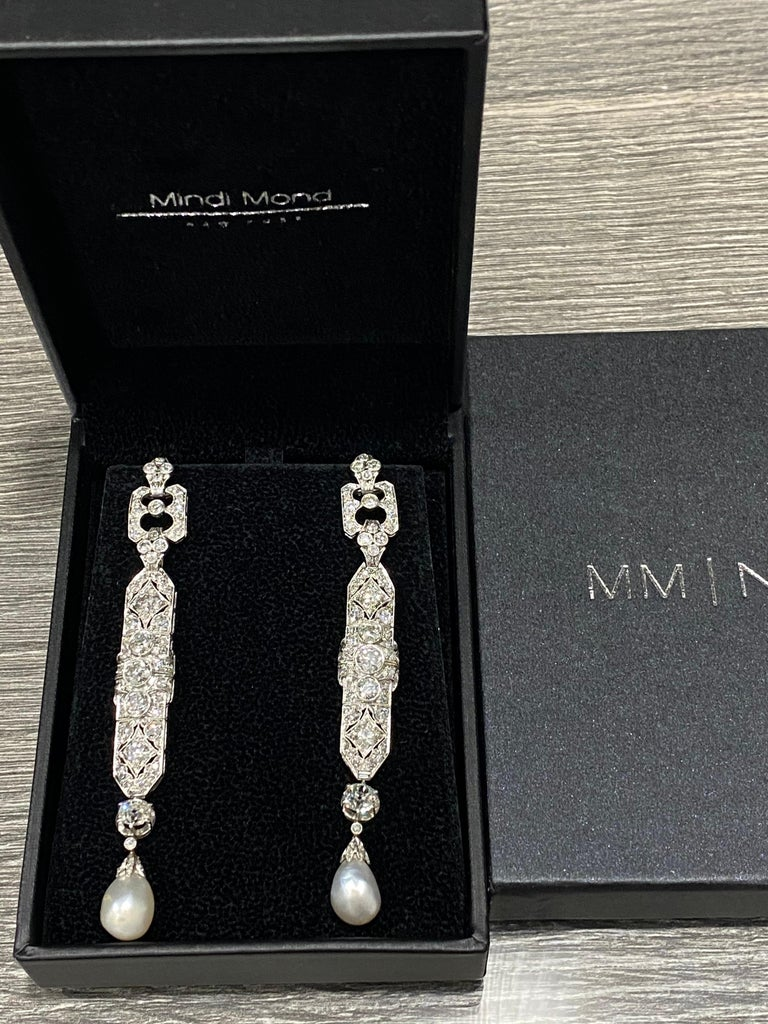 Mixed Cut One-of-a-Kind Diamond Natural Pearl Platinum Long Dangling Chandelier Earrings For Sale