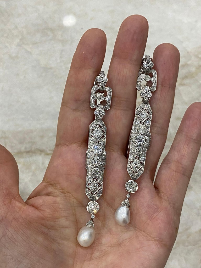One-of-a-Kind Diamond Natural Pearl Platinum Long Dangling Chandelier Earrings In Excellent Condition For Sale In New York, NY