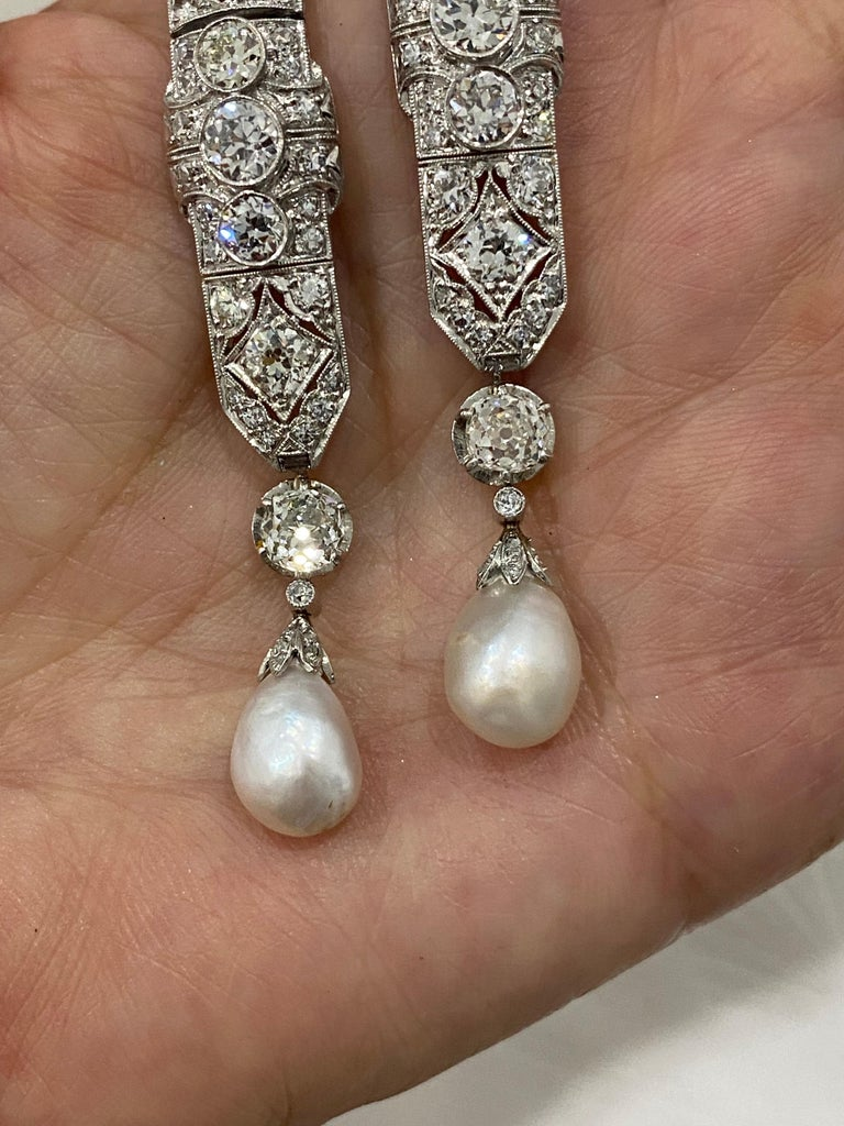 Women's or Men's One-of-a-Kind Diamond Natural Pearl Platinum Long Dangling Chandelier Earrings For Sale