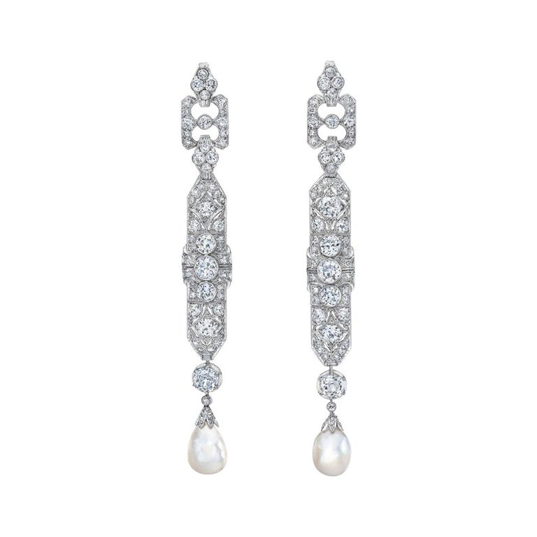 One-of-a-Kind Diamond Natural Pearl Platinum Long Dangling Chandelier Earrings For Sale