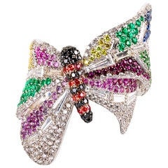 """Contemporary """"Butterfly"""", a Multicolor Gemstone Ring in White Gold"""