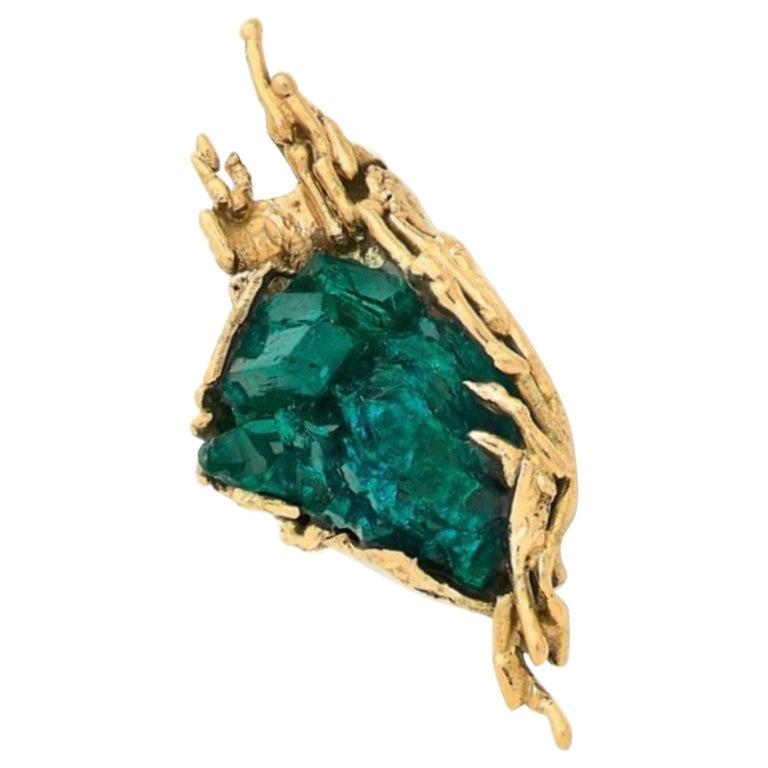 One of a Kind Dioptase Yellow Gold Granite 18 Carats Brooch Signed Roland Schad For Sale